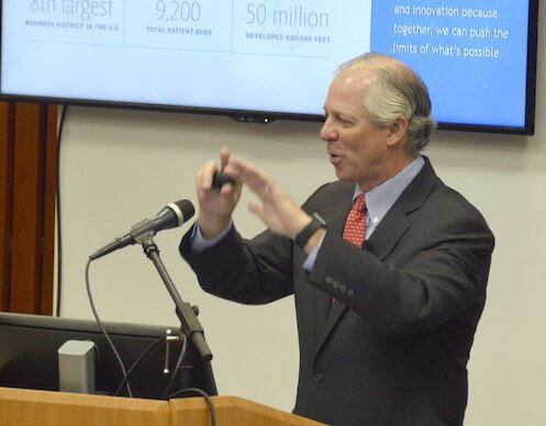 Texas Medical Center Chief Executive Officer and President Robert C. Robbins, M.D., delivers the conference's welcoming remarks (Photo credit: John Brannen/University of Houston)