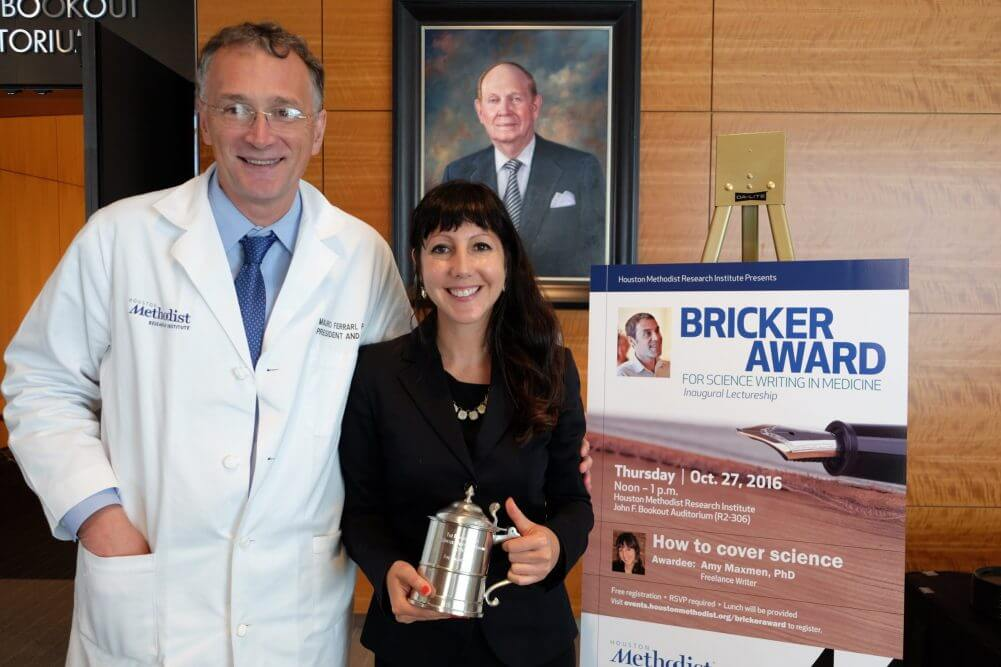 Mauro Ferrari, Ph.D., president and CEO of Houston Methodist Research Institute and executive vice president of Houston Methodist Hospital, with freelance writer Amy Maxmen,  Ph.D., recipient of the inaugural Bricker Award for Science Writing. (Photo credit: Doris Huang, Houston Methodist)