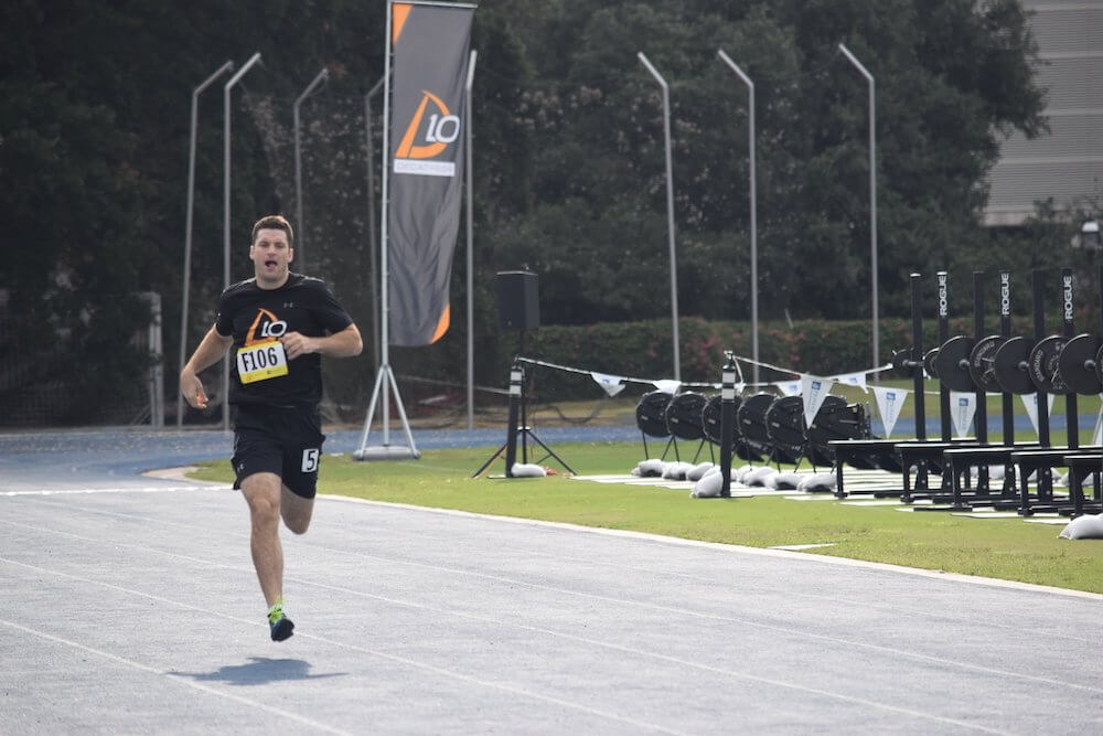 Athletes completed a series of 10 drills designed to test their fitness: a 400-meter run, a football throw, pull ups, a 40-yard dash, dips, a 500-meter row, a vertical jump, a 20-yard shuttle, a bench press and an 800-meter run.