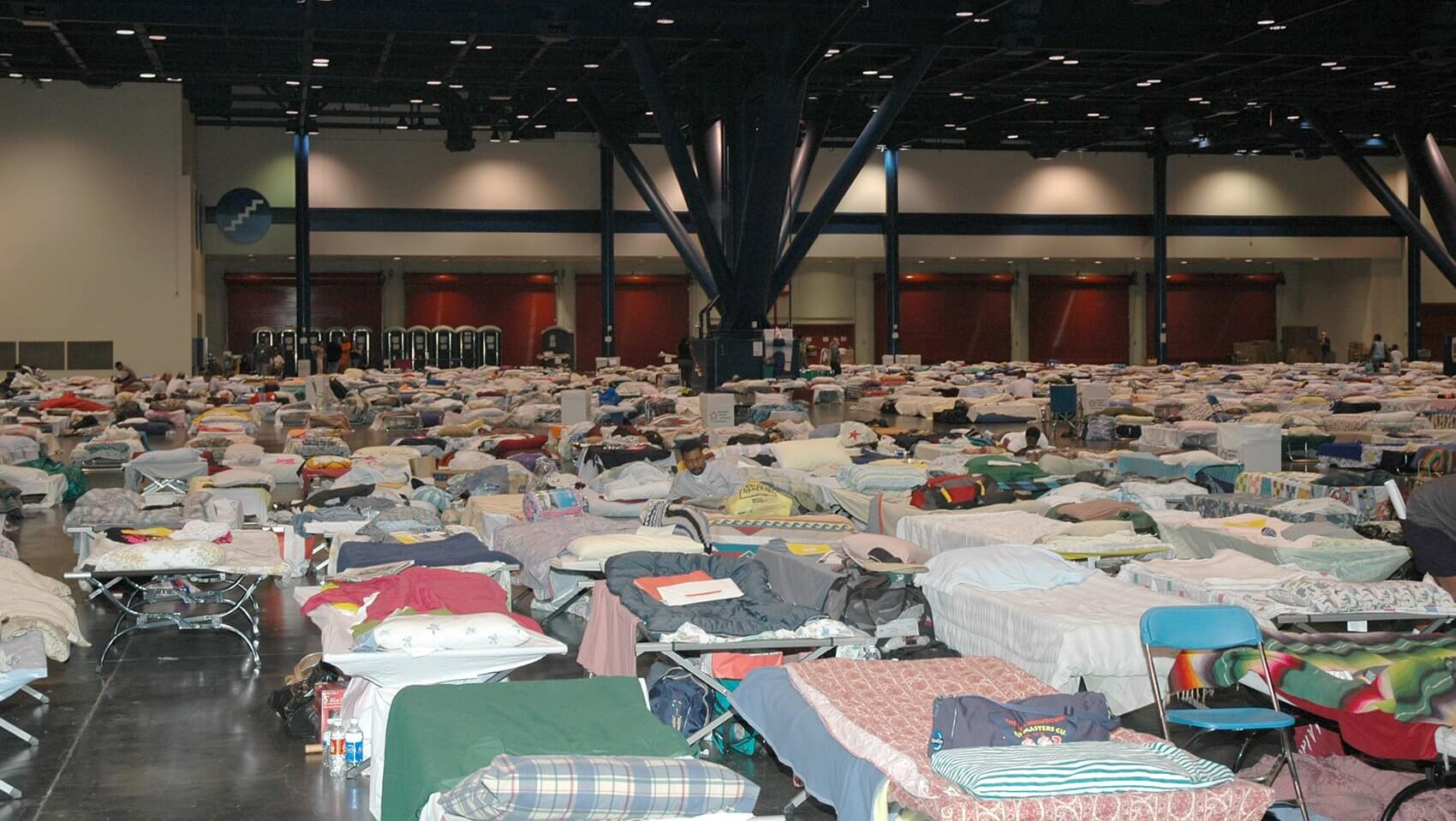 A sea of beds at the George R. Brown Convention Center. (Photo courtesy The University of Texas Health Science Center at Houston)