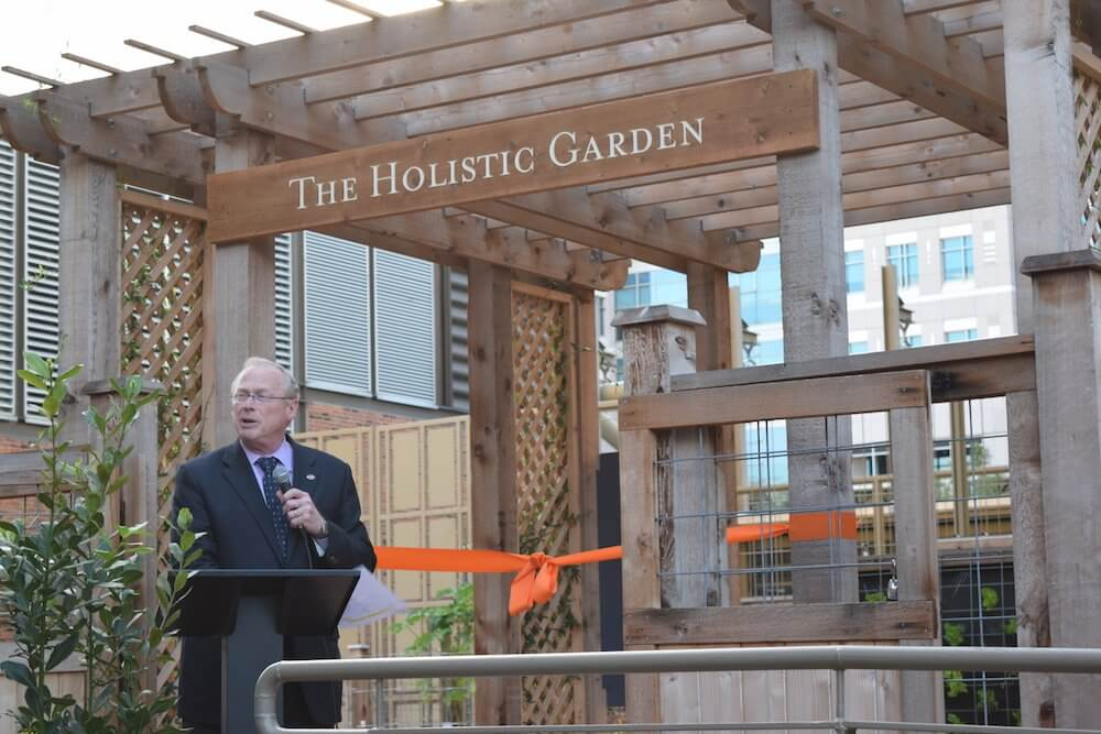 Eric Boerwinkle, Ph.D., dean of UTHealth School of Public Health, thanks guests for attending the ribbon cutting.