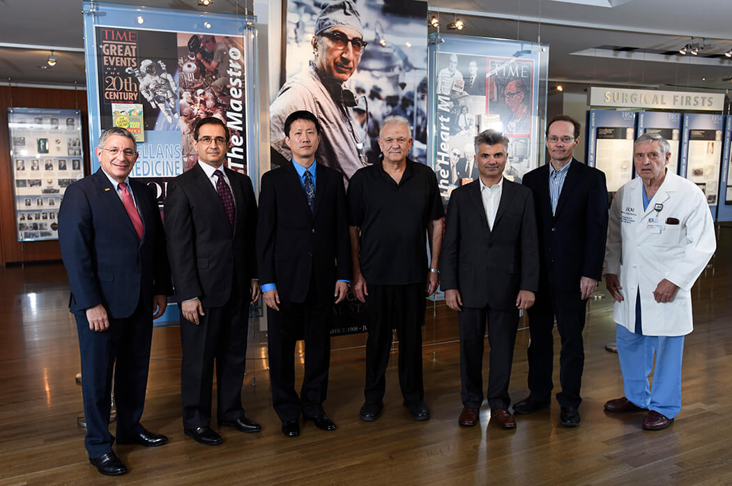 From left to right: Dr. Paul Klotman, Dr. Hashem El-Serag, Dr. Wei Li, Dr. Hugo Bellen, Dr. Andreas Tolias, Dr. James Martin and Dr. George Noon.