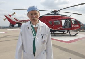 "Photo by Dwight C. Andrews/The University of Texas Medical School at Houston Office of Communications Dr. James ""Red"" Duke walks away from a Life Flight helicopter ambulance at Memorial Hermann - Texas Medical Center Thursday, September 27, 2012."