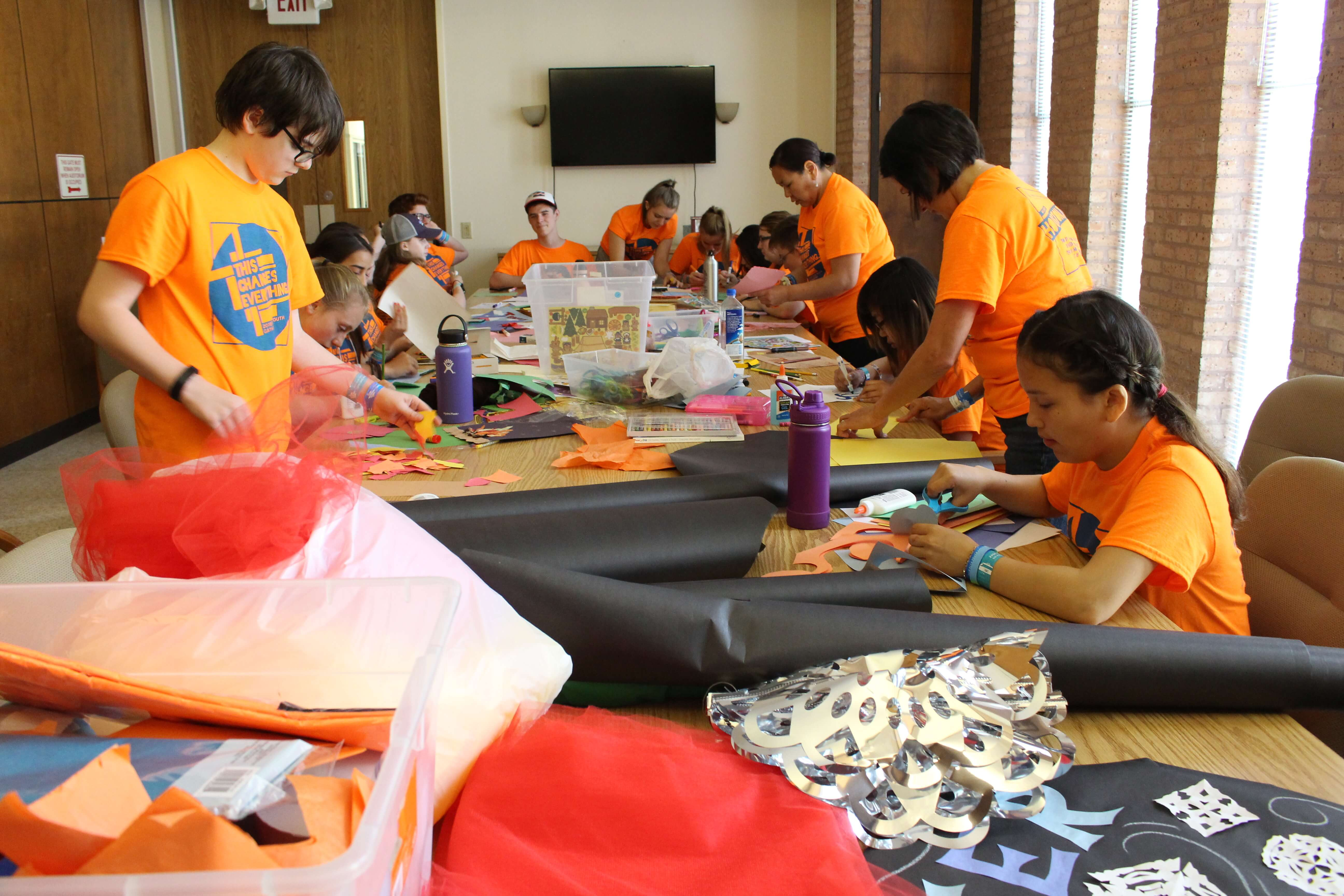 Volunteers from the Evangelical Lutheran Church in America's triennial Youth Gathering convening in Houston in June 2018 spent two days cleaning the school at The Center for Hearing and Speech and turning the agency's summer camp area into a superhero sanctum. (Photo contributed by The Center for Hearing and Speech)