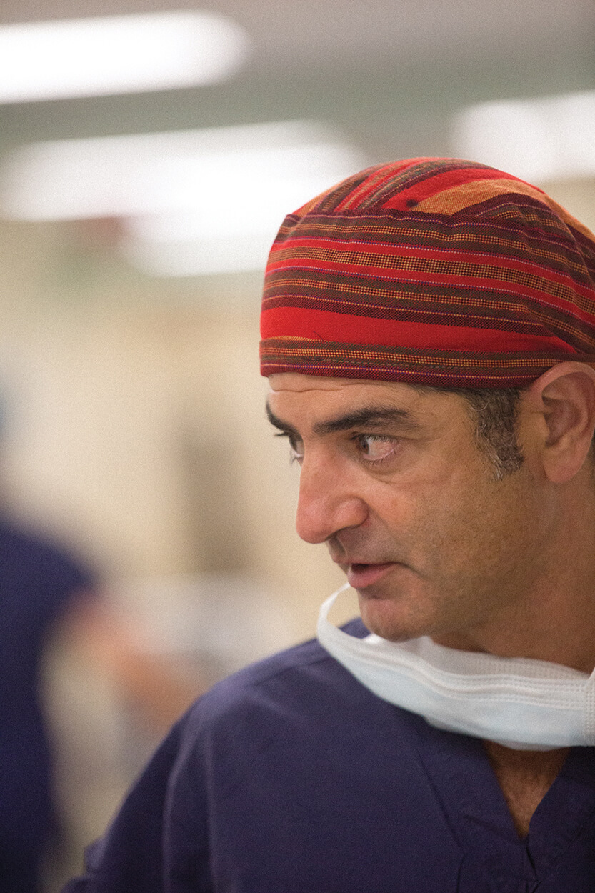Ali Dodge-Khatami, M.D., Ph.D., prepares for Ethan's surgery at Children's Memorial Hermann Hospital.