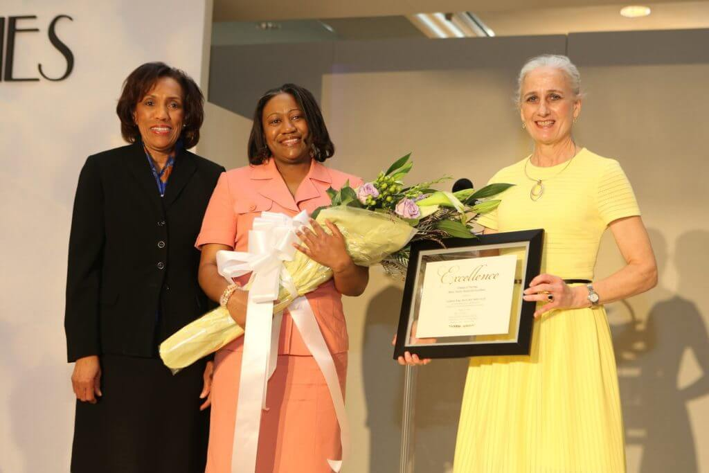FON on stage PVAM Dean of Nursing Betty Adams, award winner LaShanti King, Karen Myers