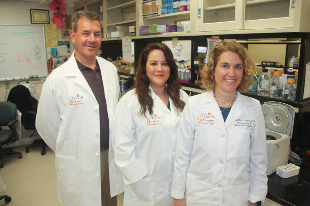Fighting oral thrush at McGovern Medical School at UTHealth from the left are Michael Lorenz
