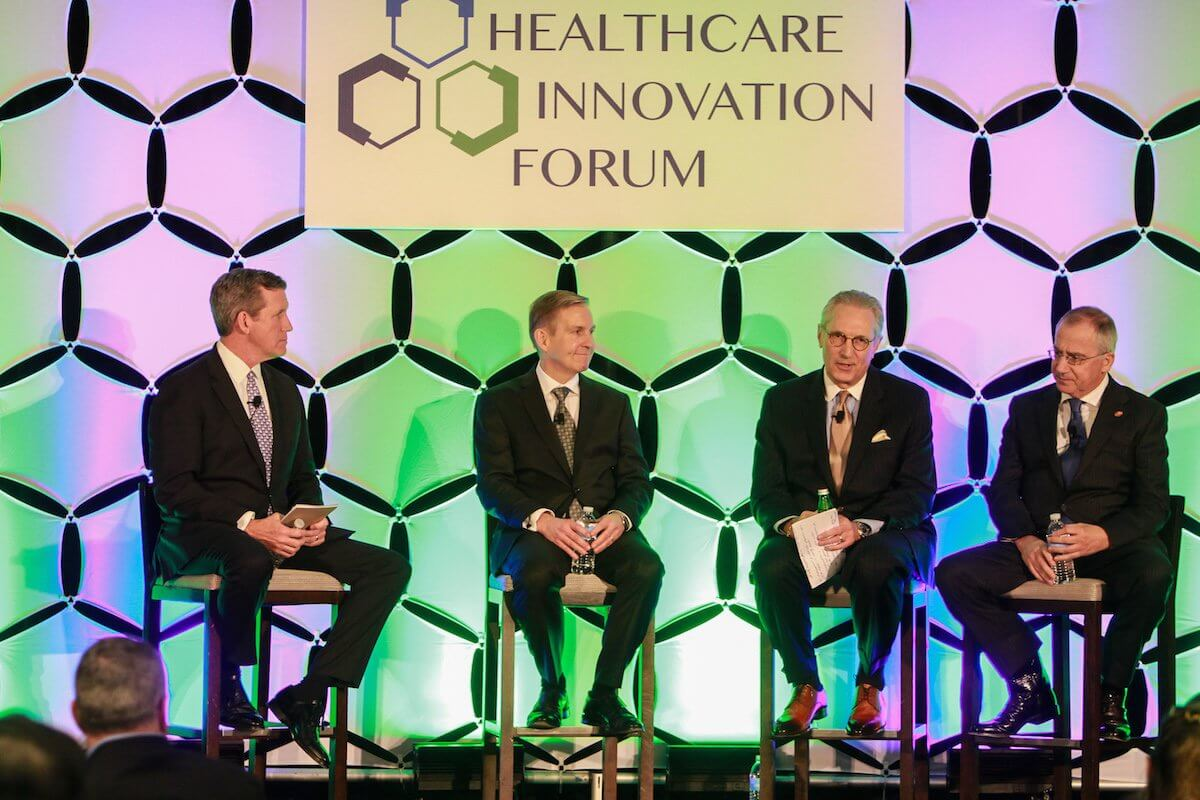 Texas Medical Center President and CEO William F. McKeon leads a keynote panel at the Healthcare Innovation Forum (Credit: Gary Fountain).