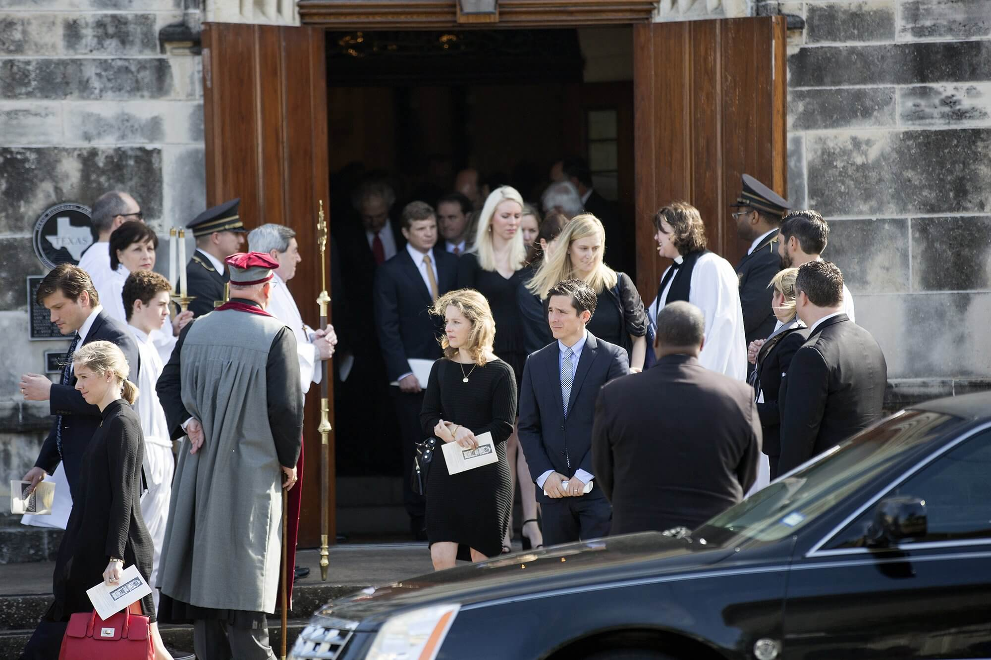 Mourners leave the memorial service for Denton A. Cooley, M.D., in Houston on Nov. 28, 2016. (Photo: Cody Duty)