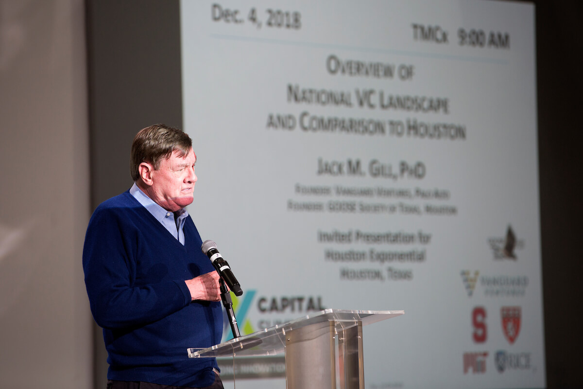 Jack Gill, Ph.D., the founder of Vanguard Ventures, a technology venture capital fund based in Palo Alto, Calif., and a Rice University entrepreneurship professor, offers opening keynote address at the Houston Exponential Capital Summit on Dec. 4, 2018.