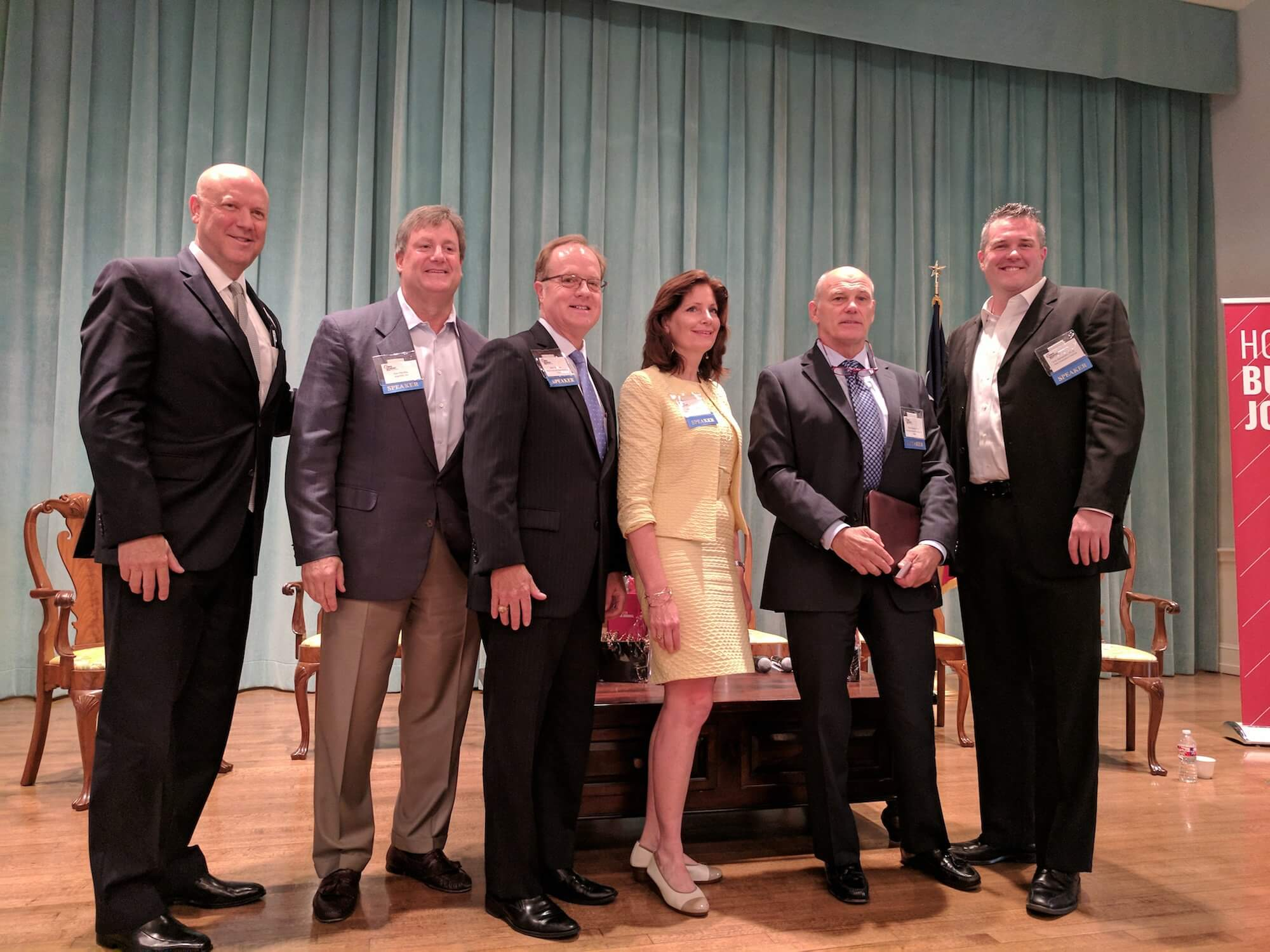From left, Bob Charlet, Houston Business Journal; Dan Parsley, angelMD Inc.; Bob Morrow, M.D., Blue Cross Blue Shield of Texas; Julia Andrieni, M.D., Houston Methodist Coordinated Care; Chris Skisak, Ph.D., Houston Business Coalition on Health; and Erik Halvorsen, Ph.D., TMC Innovation Institute.