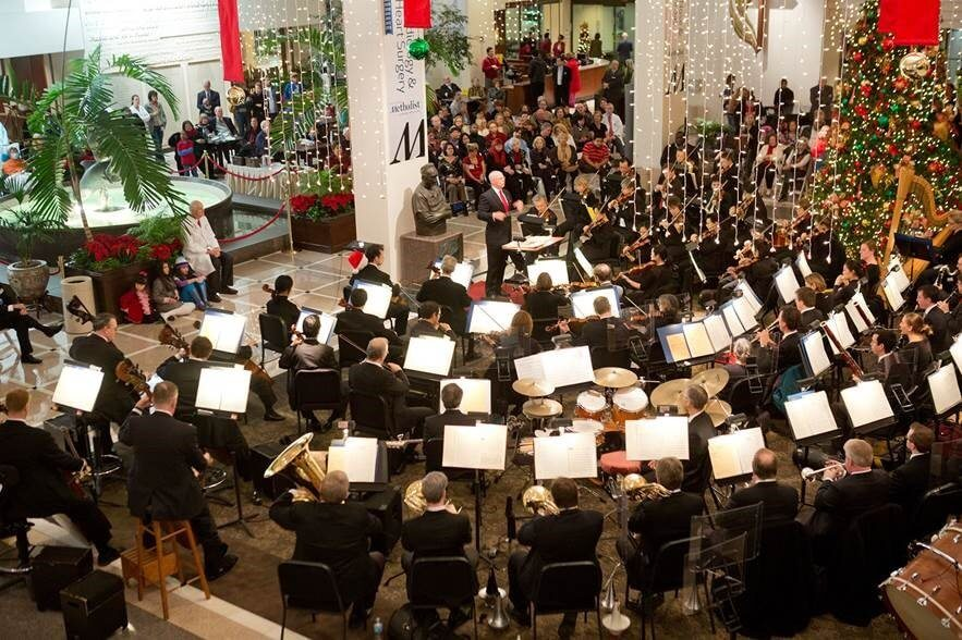The Houston Symphony performs a holiday concert for patients, families and staff each December in Houston Methodist's Crain Garden. (Photo Courtesy of Houston Methodist)