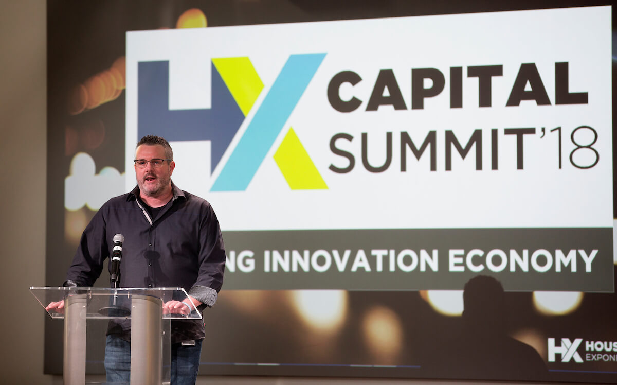 Erik Halvorsen, Ph.D., TMC Innovation Institute director, greets attendees at the Houston Exponential Capital Summit on Dec. 4, 2018.
