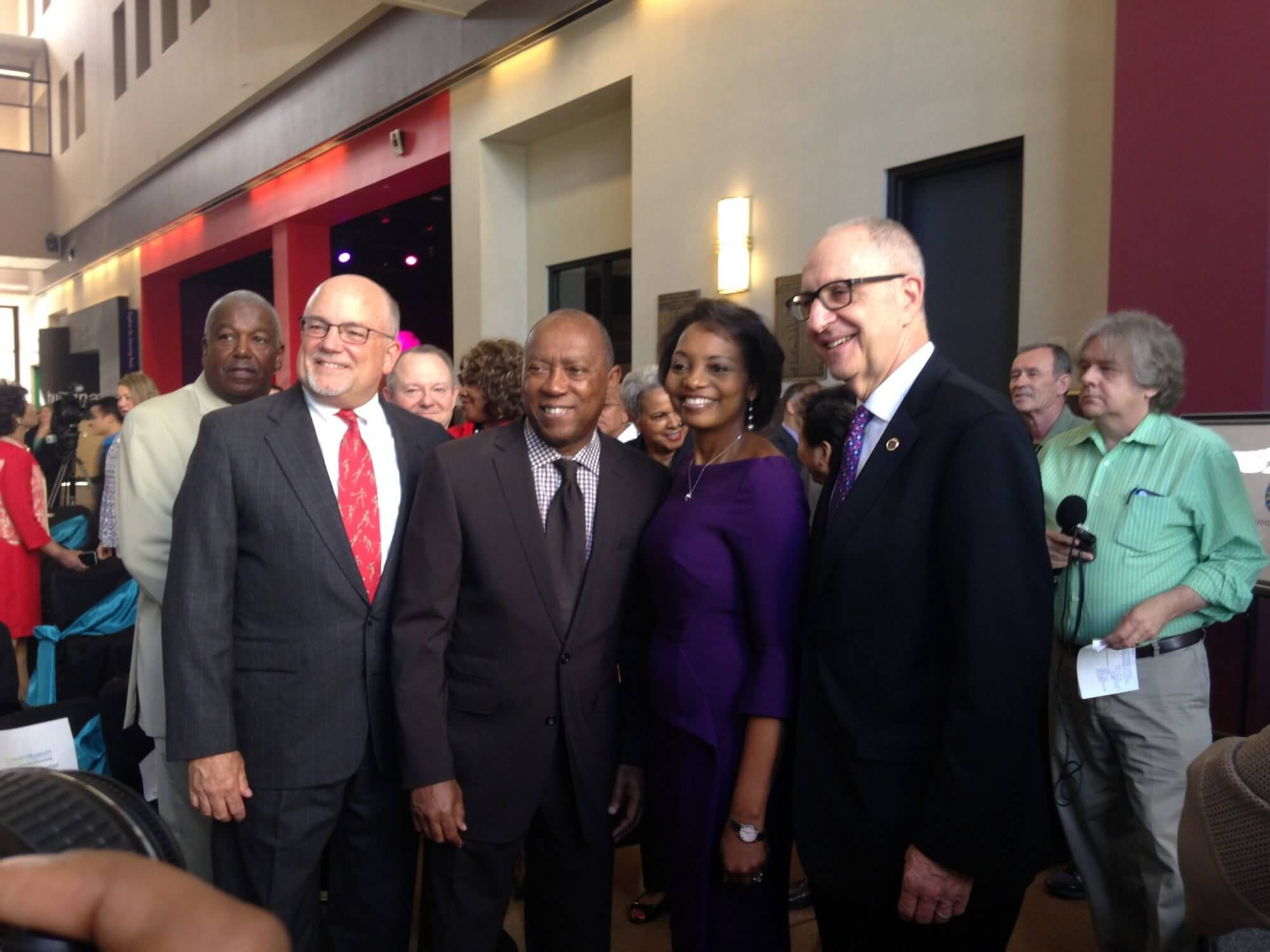 At a ceremony celebrating The Health Museum's new status as a Smithsonian Affiliate, Chair of the Board of Directors of the John P. McGovern Museum of Health & Medical Science Brian S. Parsley, M.D.; Houston Mayor Sylvester Turner; President and CEO of The Health Museum Melanie Johnson, Ed.D.; and Smithsonian Secretary David Skorton.