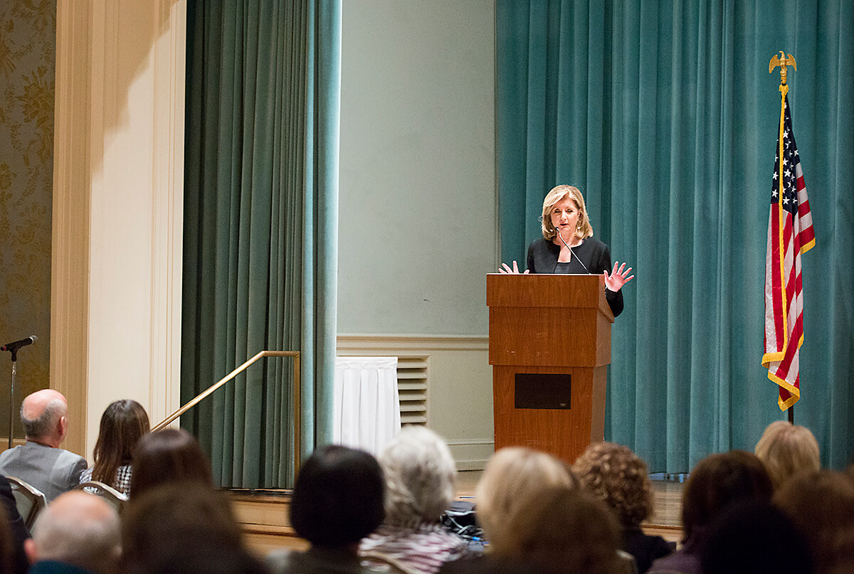 Arianna Huffington addresses the audience at the Junior League of Houston on Oct. 17, 2018.