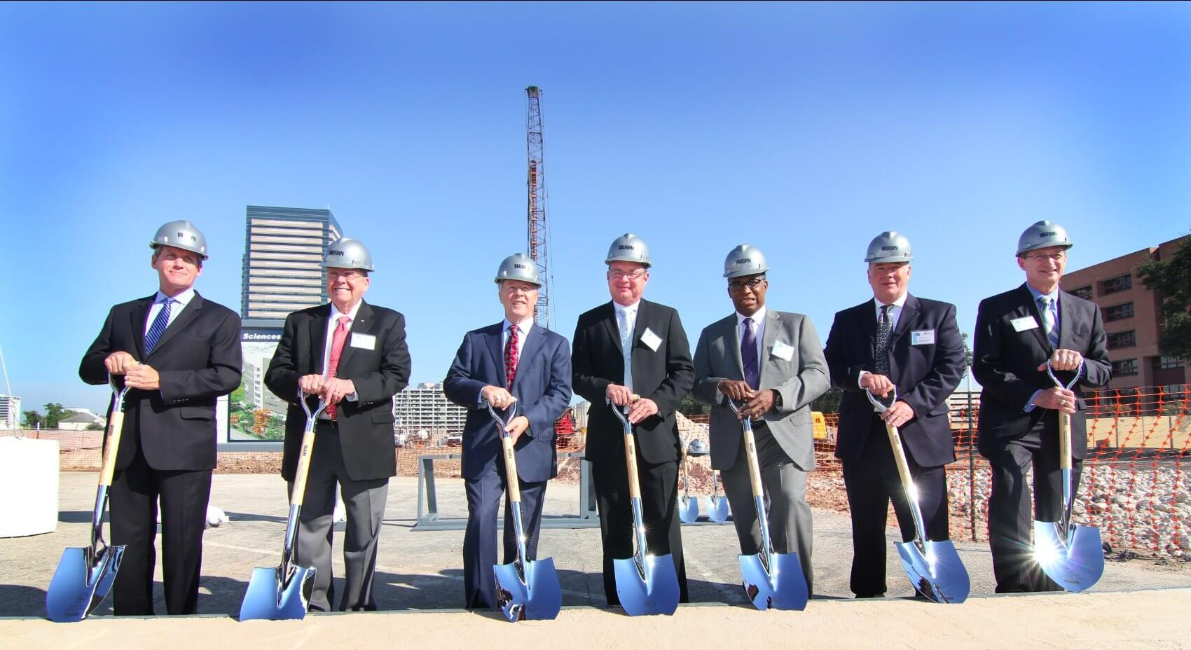 Shovels in hand, officials wait to break ground at the site of the new Harris County Institute of Forensic Sciences (HCIFS) facility. (Provided by: HCIFS)