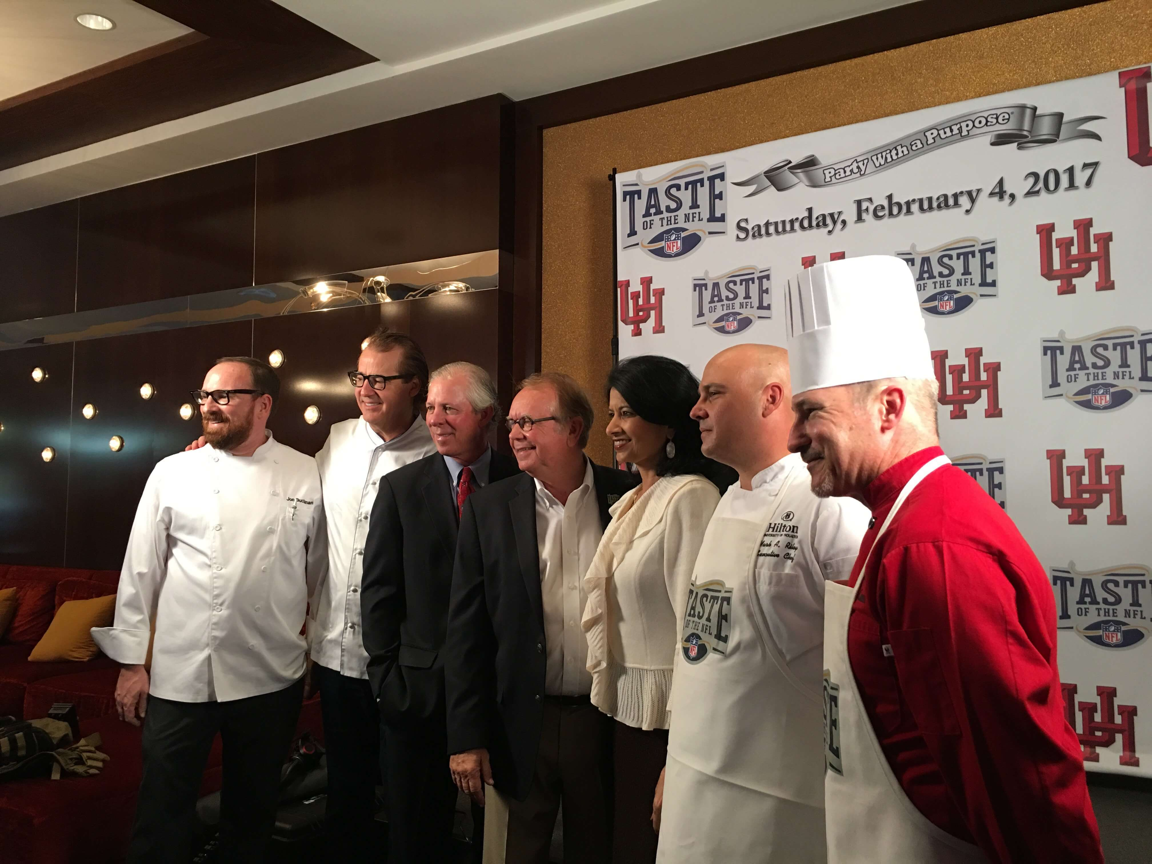 Local chefs join Texas Medical Center president and CEO Robert C. Robbins, Taste of the NFL founder Wayne Kostroski and University of Houston president Renu Khator for the Party with a Purpose kick-off event on Oct. 11.