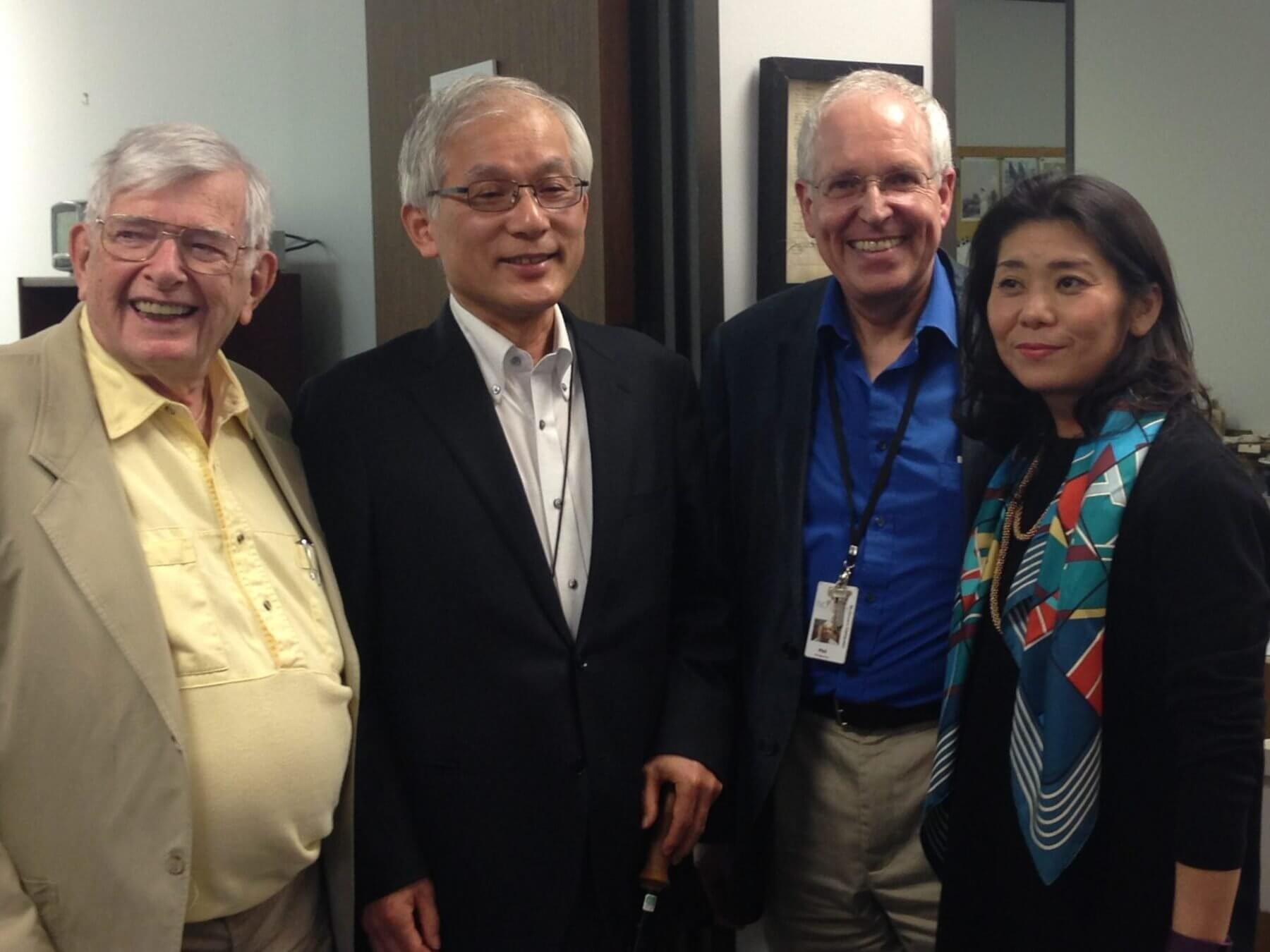 Left to right, William J. Schull, Ph.D., professor emeritus of genetics and epidemiology at the School of Public Health at The University of Texas Health Science Center at Houston; Masahito Ando, Ph.D., a professor of archival science at Gakushuin University in Tokyo, Japan; Philip Montgomery, MLIS, CA, head of the TMC Library's McGovern Historical Center; and archivist and historian Kaori Maekawa.