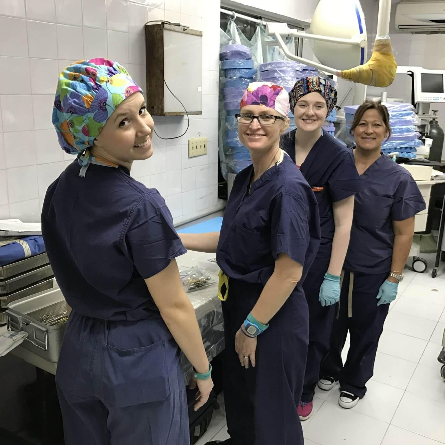Nurses from Children's Memorial Hermann Hospital prep for surgery at Bernard Mevs Hospital in Jan. 2017.