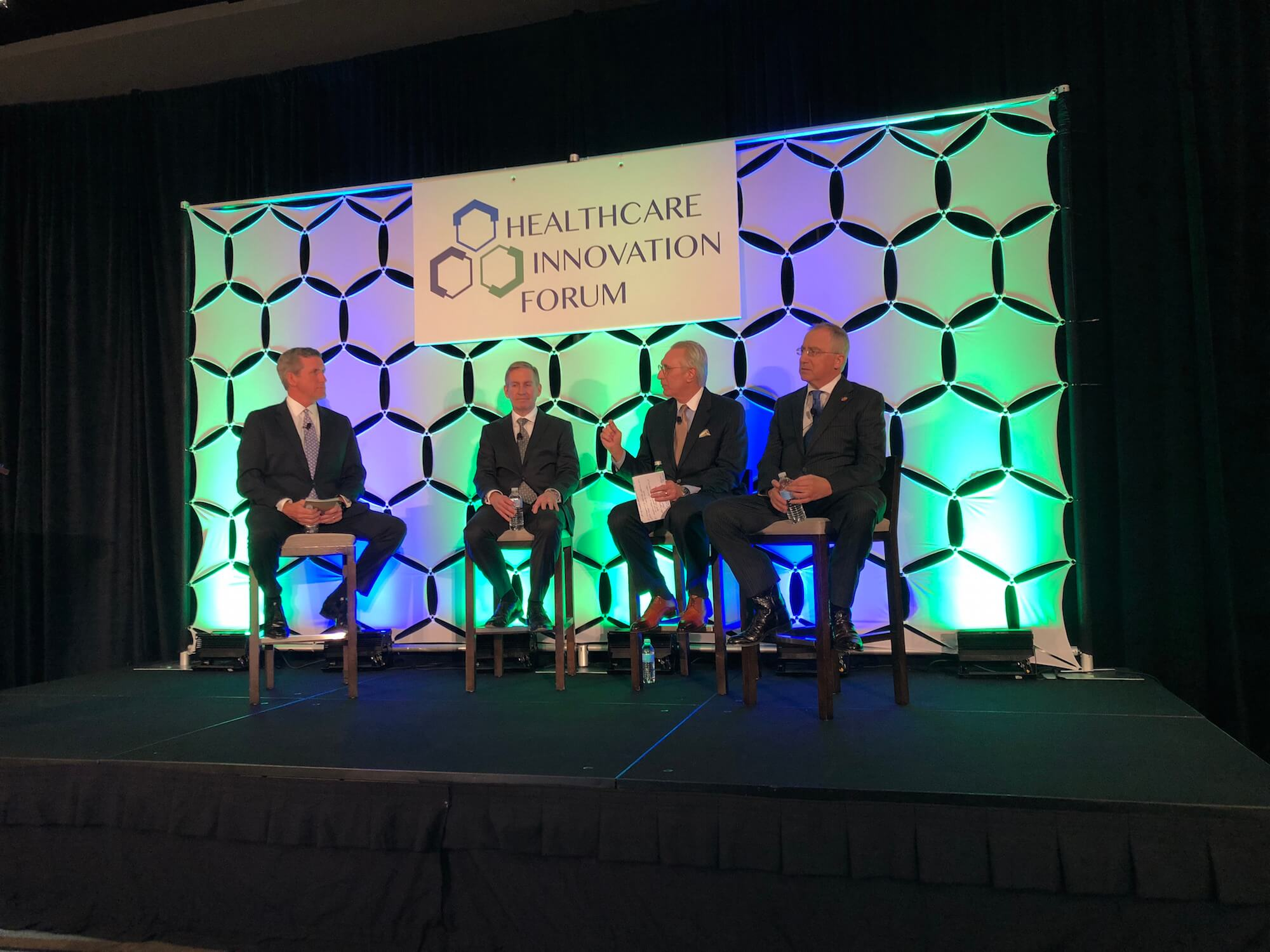 Texas Medical Center President & CEO William McKeon leads a keynote panel at the Texas Healthcare Innovation Forum featuring Peter Pisters, M.D., M.H.C.M., president of MD Anderson; Chuck Stokes, president & CEO of Memorial Hermann Health System; and Giuseppe Colasurdo, M.D., president of UTHealth.