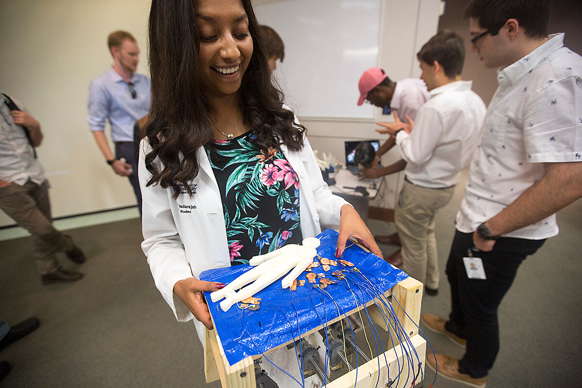 Maanasy Nadarajah shows her prototype for Settress, a mattress created to eliminate pressure ulcers.