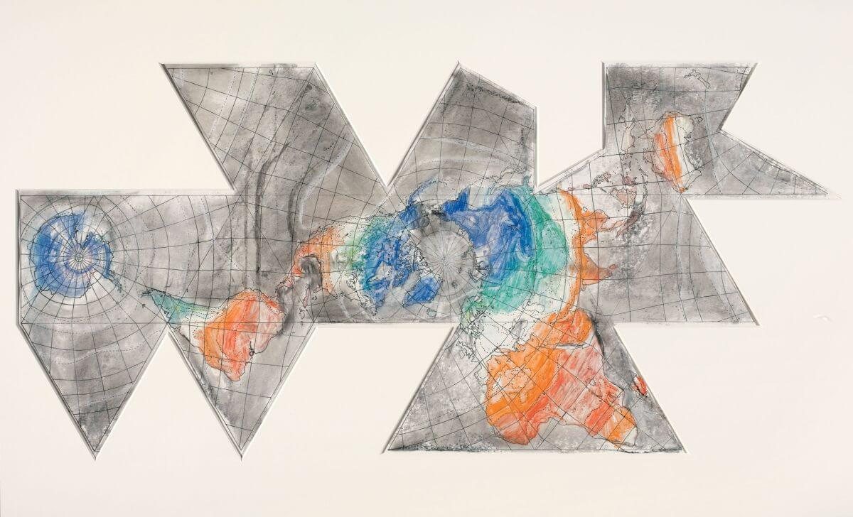 Study for 1st Version of Map (Based on Buckminister Fuller's Dymaxion Airocean World), 1967. Image courtesy of the Menil Drawing Institute.