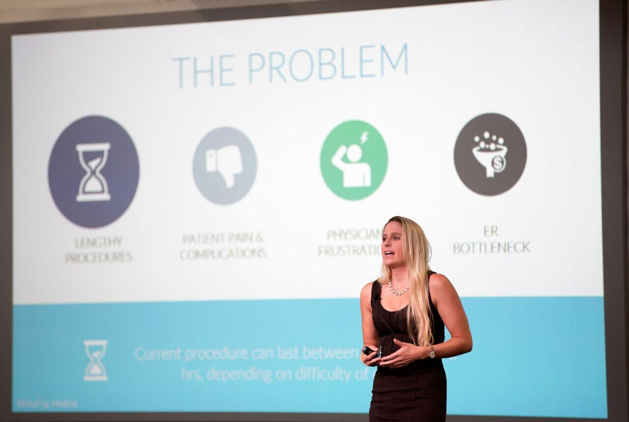 Jessica Traver, CEO and co-founder of IntuiTap Medical, pitching her company at the TMC Expert Forum in 2016.