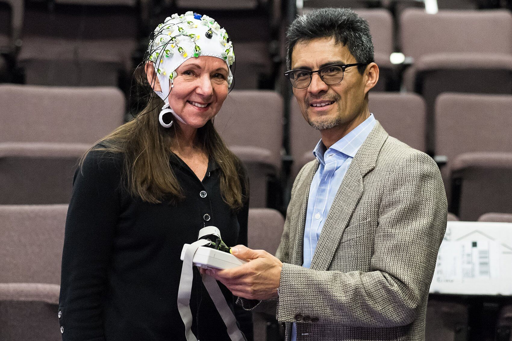 Dancer Becky Valls and University of Houston neuroscientist and engineer Jose Luis Contreras-Vidal, Ph.D. (Credit: Lynn Lane Photography)
