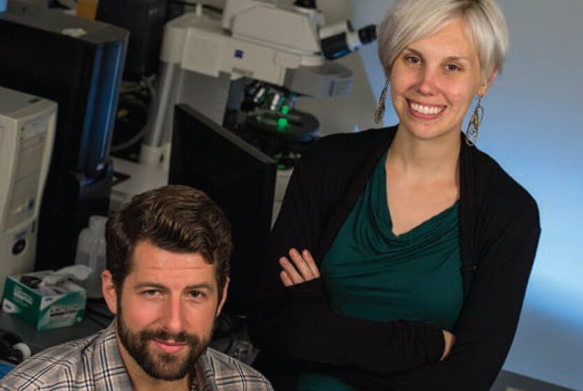 Rice graduate students Zachary Crannell, left, and Brittany Rohrman are leading Rice University bioengineers in an effort to develop an efficient test to detect signs of HIV and its progress in patients in low-resource settings. (Credit: Jeff Fitlow/Rice University)