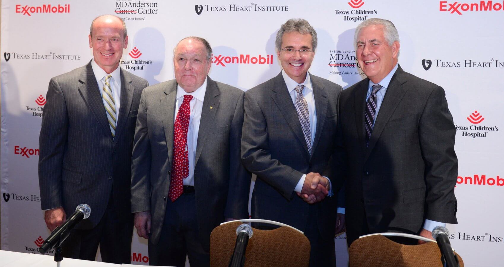 From left: Texas Children's Hospital Physician-in-Chief Mark Kline, M.D., Texas Heart Institute President James T. Willerson, M.D., MD Anderson President Ron DePinho, M.D., and ExxonMobil Chairman and CEO Rex W. Tillerson.