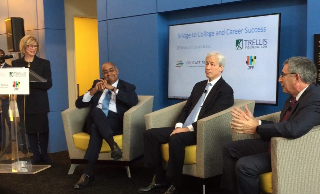 Baylor College of Medicine President and CEO Paul Klotman, M.D., right, explains the Ascend program during the SERJobs Bridge to College and Career Success program on Jan. 31, 2019 with Harris County Commissioner Rodney Ellis, left, and JPMorgan Chase Chairman and CEO Jamie Dimon, center. The panel was moderated by former Texas State Senator Flo Shapiro.