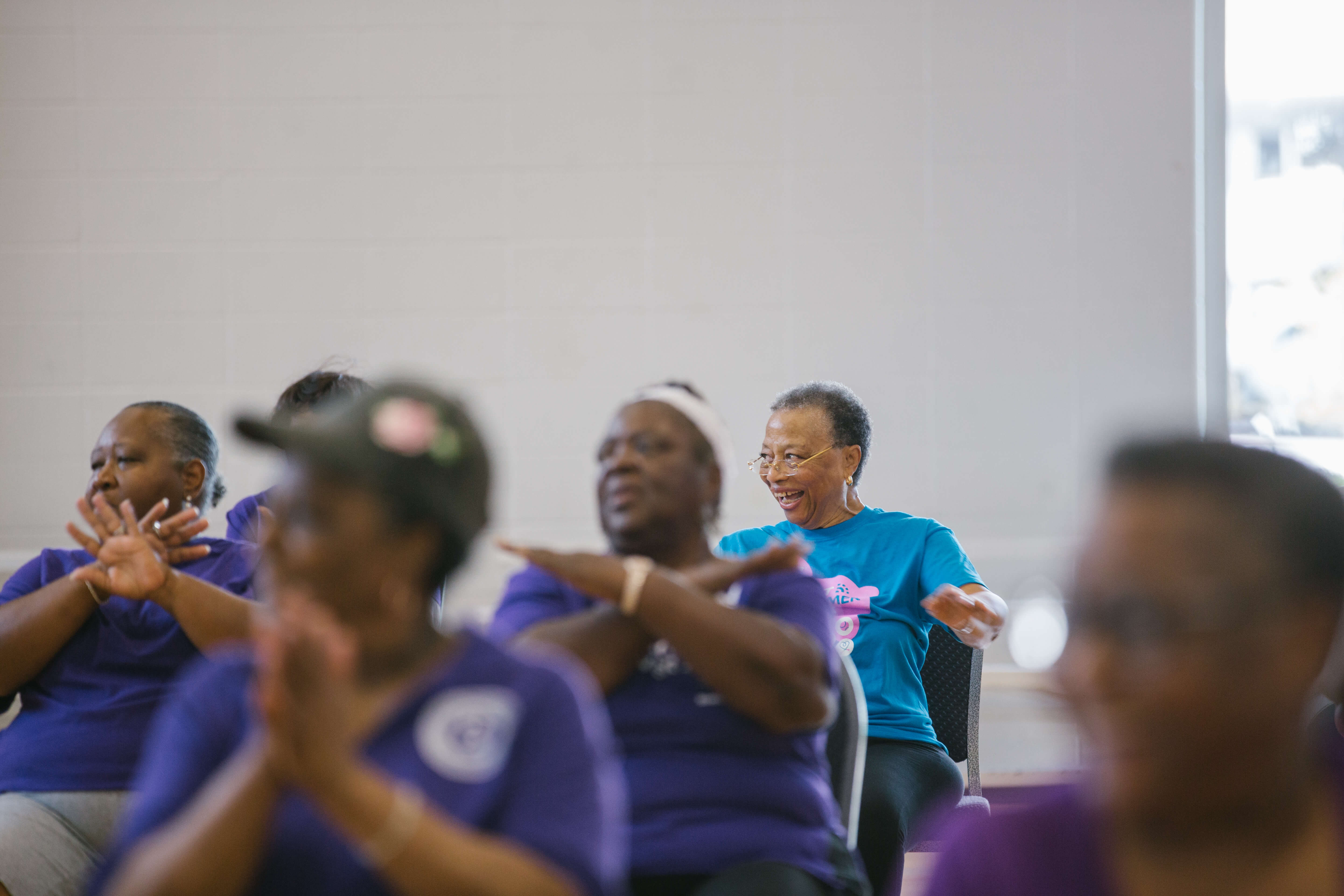 Margaret Jefferson participates in an exercise class. (Photo courtesy of the University of Houston)