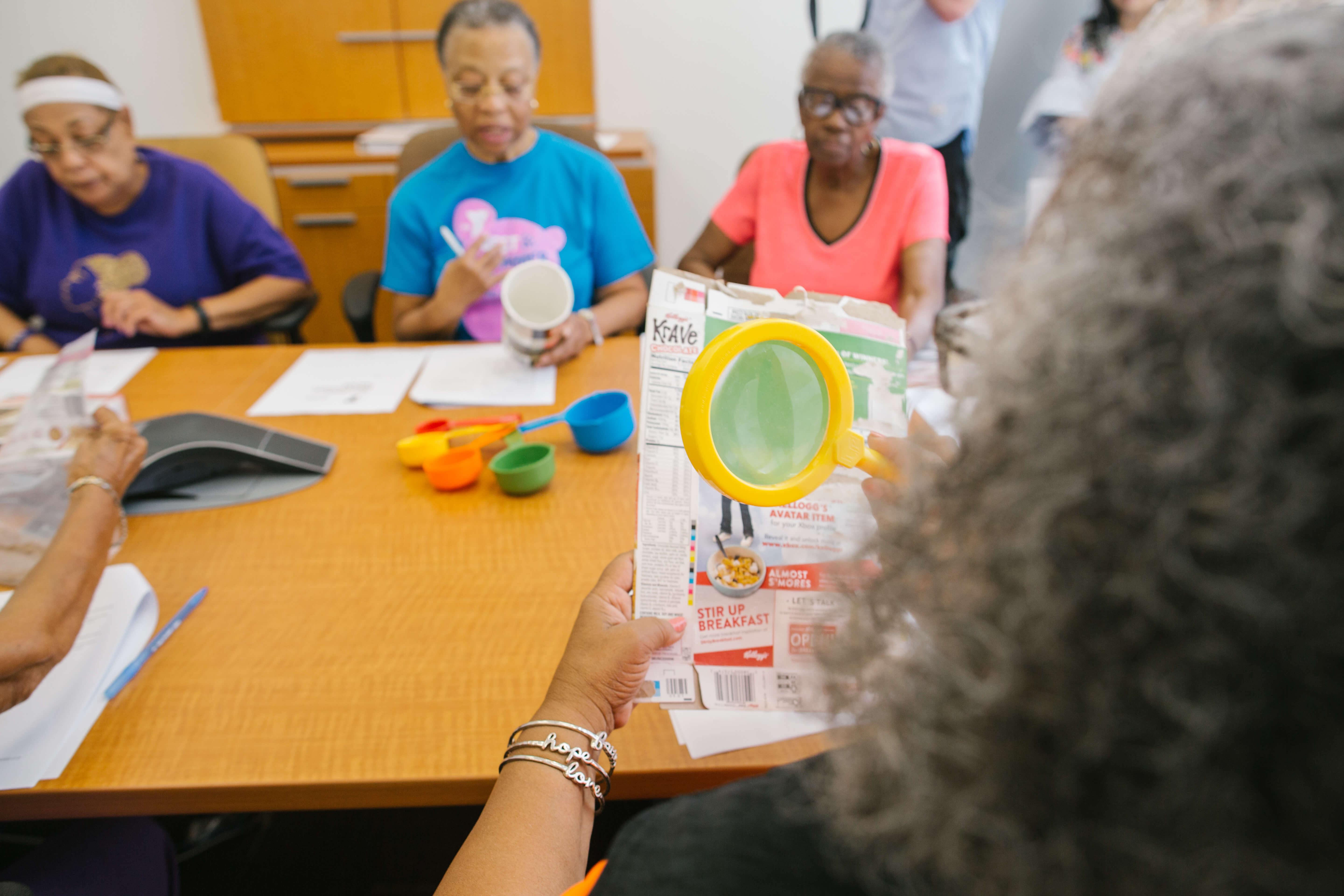 Margaret Jefferson learns to properly read food labels in a Project TOUCH class. (Photo courtesy of the University of Houston)