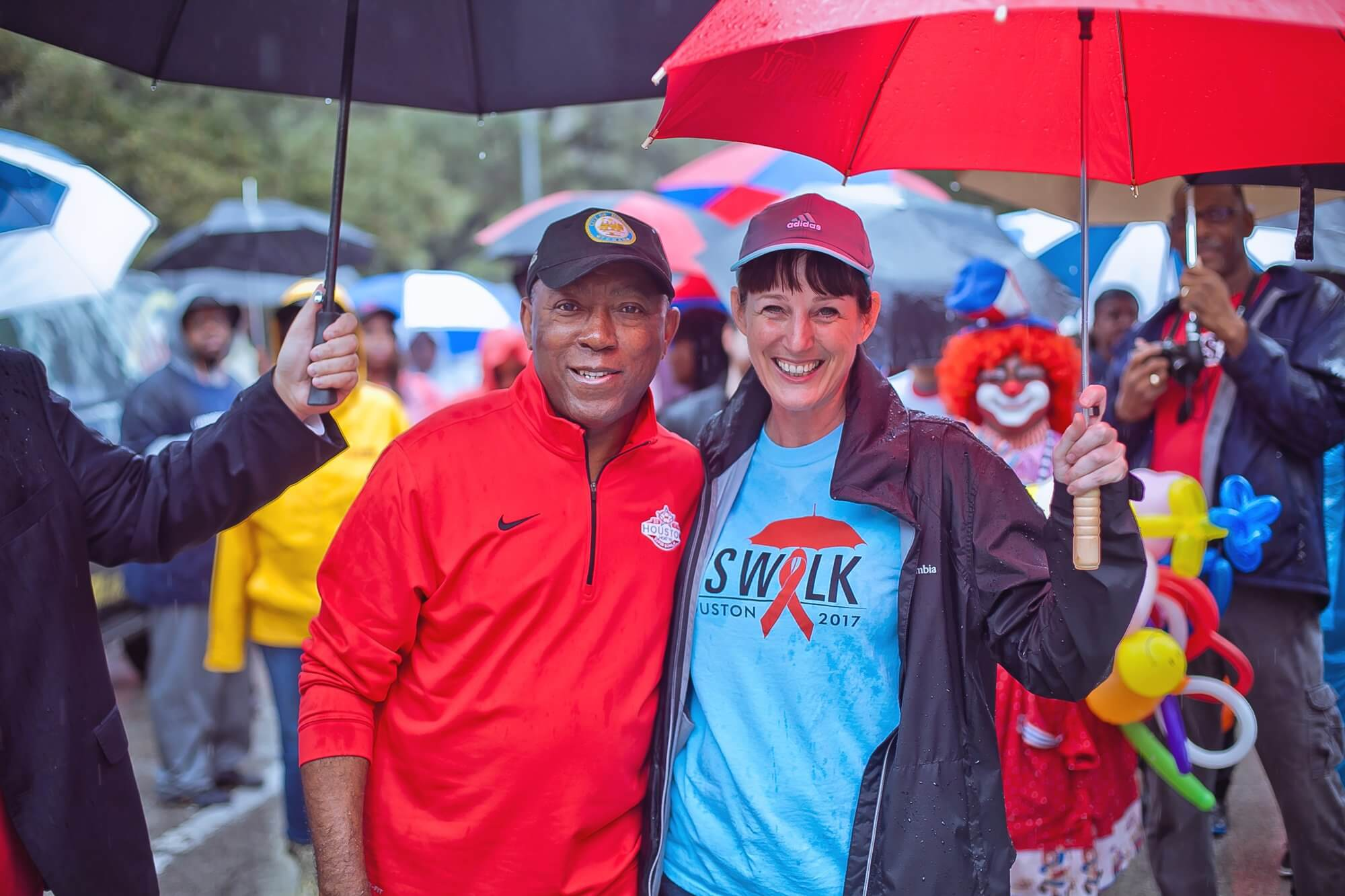 Mayor Turner and Kelly Young, CEO of AIDS Foundation Houston. (Photo credit: Morris Malakoff)
