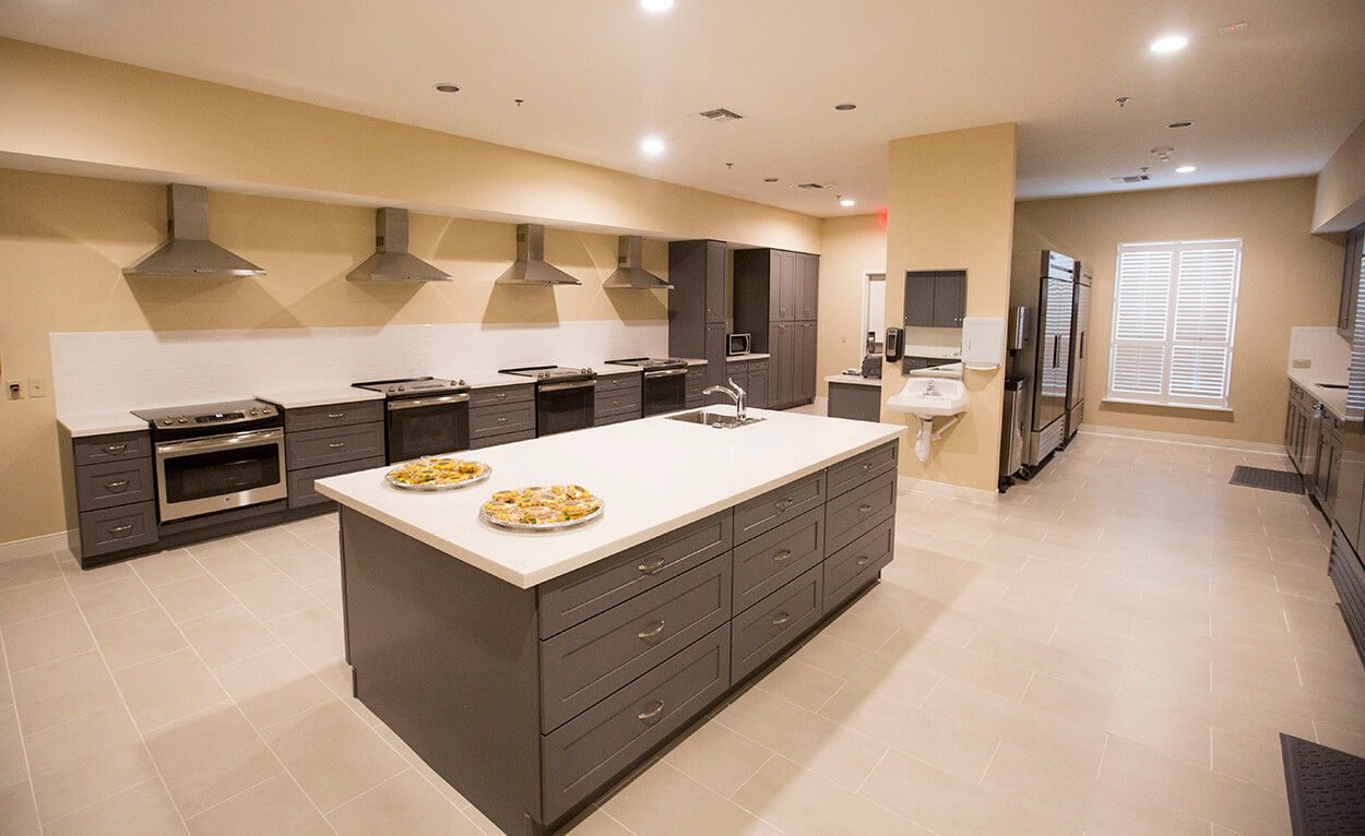 The spacious new kitchen will allow all patients plenty of room to prepare meals.