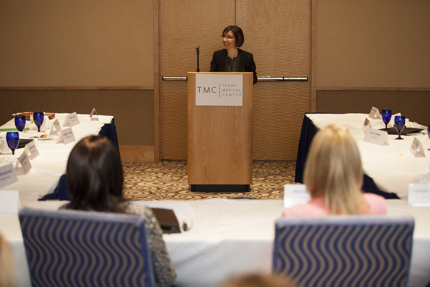 Lori Armstrong outlines the origins of the Texas Medical Center's Nursing Leadership Institute (Credit: Scott Dalton)