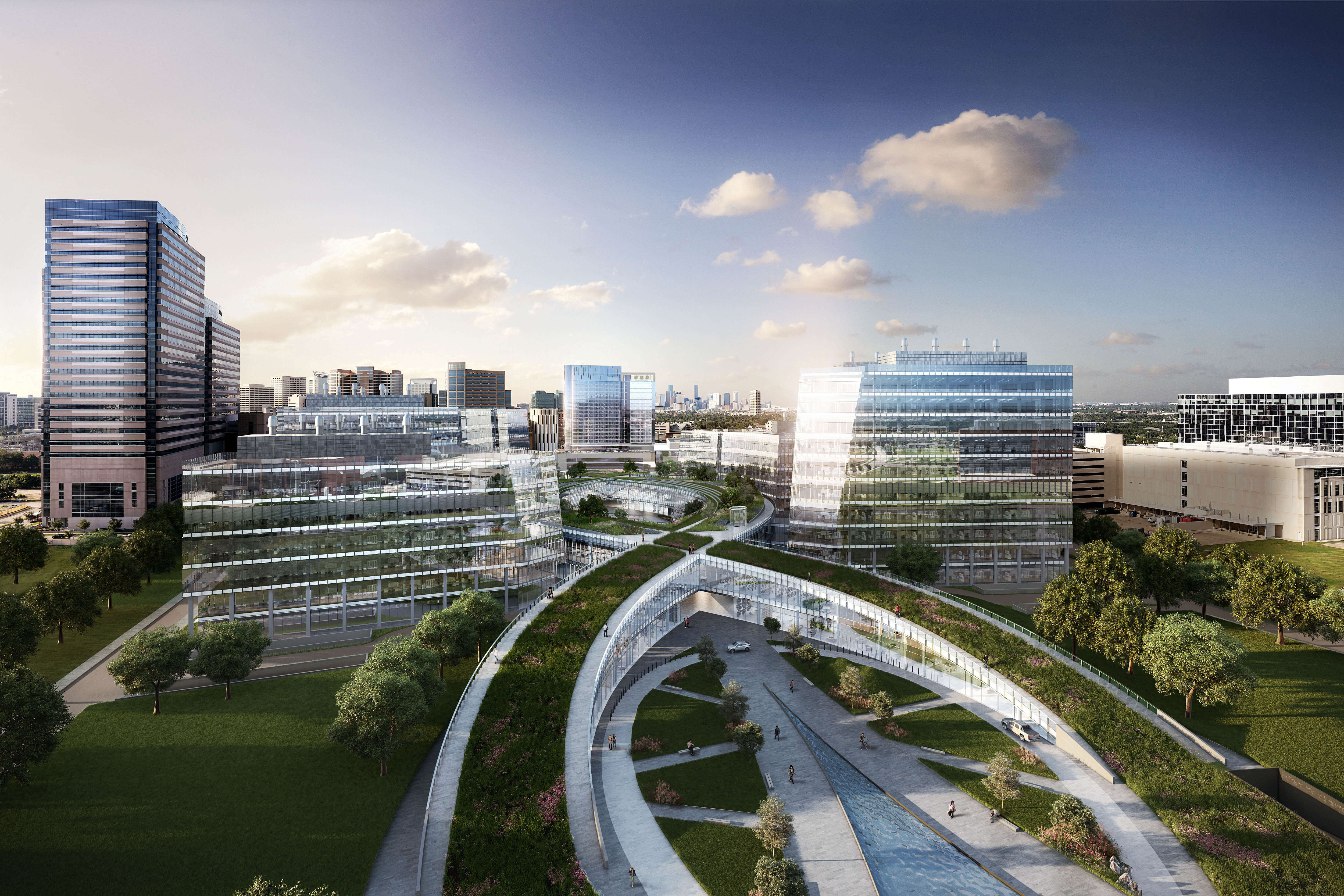A rendering of TMC3's double helix shows a three-tiered structure that will connect all the buildings on campus.