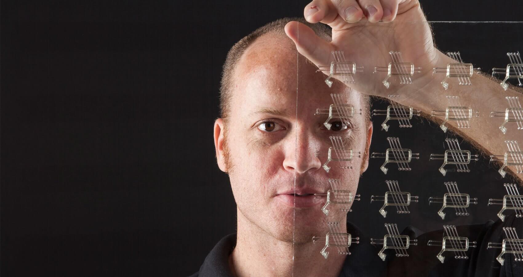 Jordan Miller and the printed 3-D sugar filament networks he developed. The scaffolds combine with living cells to promote oxygen deliver to engineered tissue.