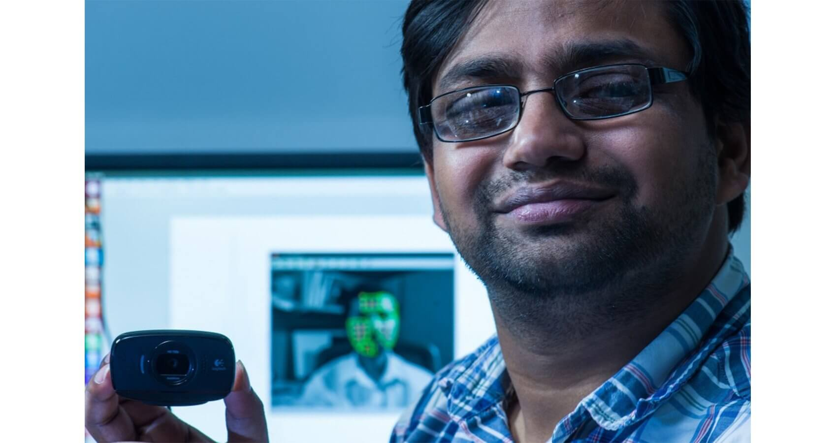 Rice University graduate student Mayank Kumar is leading a project to refine video monitoring of vital signs by compensating for a patient's skin tone, ambient lighting and movement. (Credit: Jeff Fitlow)
