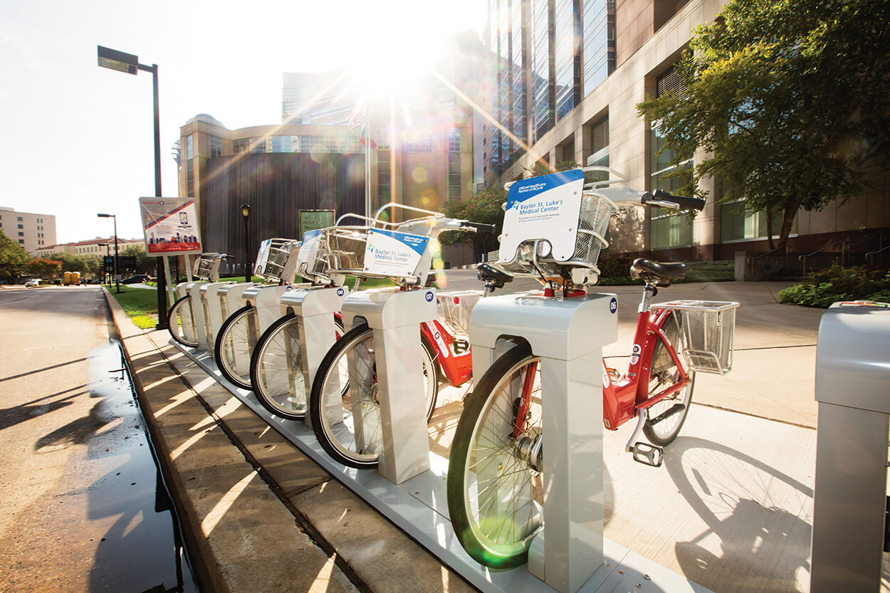 Houston BCycle stations were recently installed at the Texas Medical Center (TMC) Transit Center (6910 Fannin St.); TMC Garage 2 (1150 Bates Ave.); TMC Commons (6550 Bertner Ave., shown right); and 6411 Fannin St.