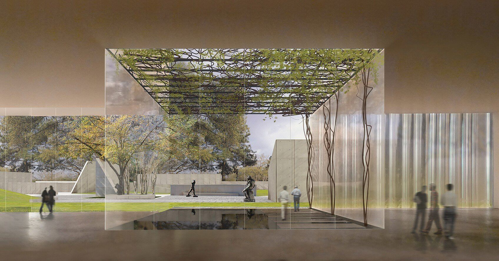 The Nancy and Rich Kinder Building, a three-story building to house the Museum's largely unseen collection of 20th and 21st century works of art, will create 54,000 square feet of gallery space. (Credit: Steven Holl Architects)