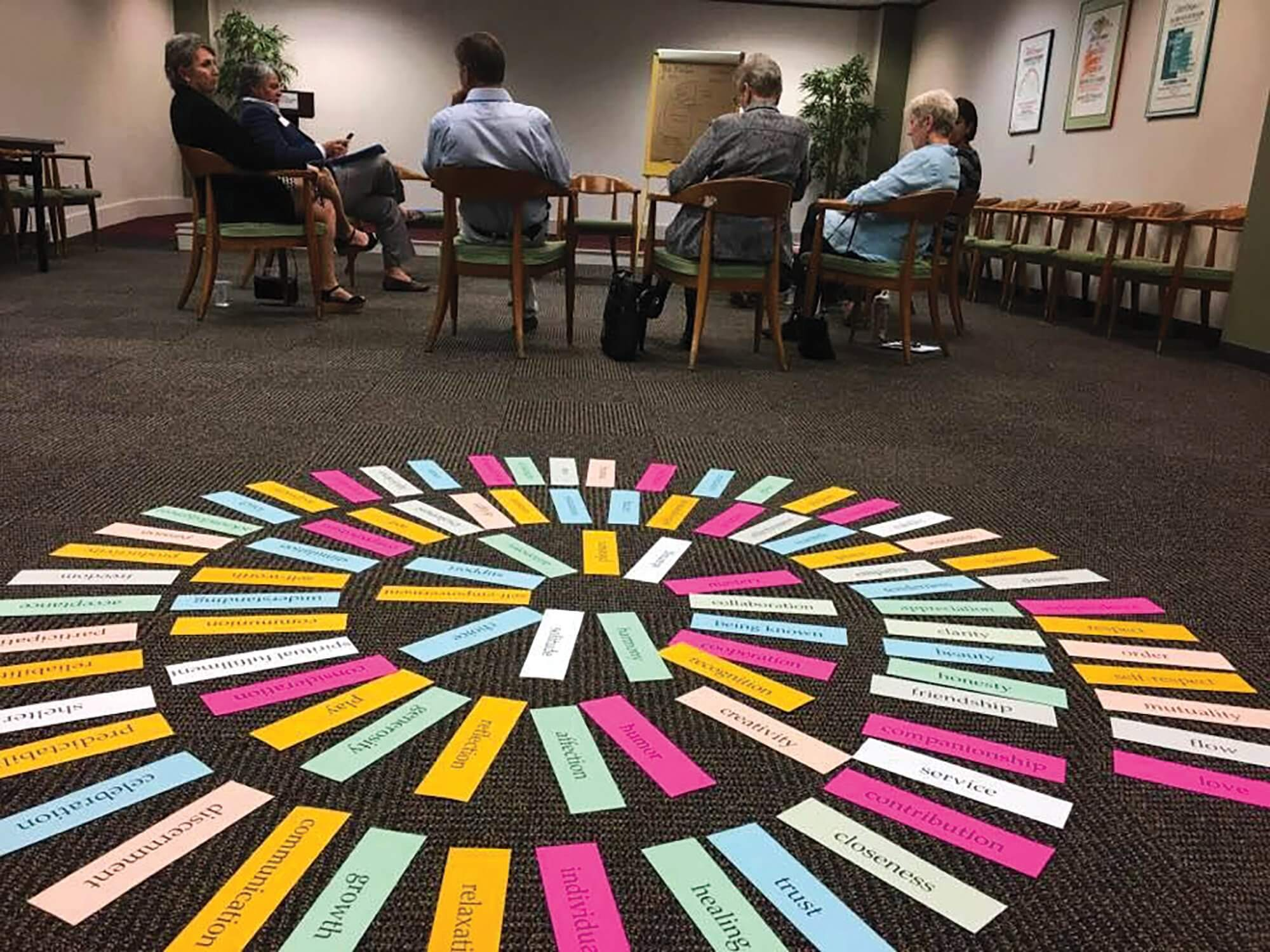 Guests at the Institute for Spirituality and Health participate in a mindful self-compassion training event that addresses different human characteristics and needs.