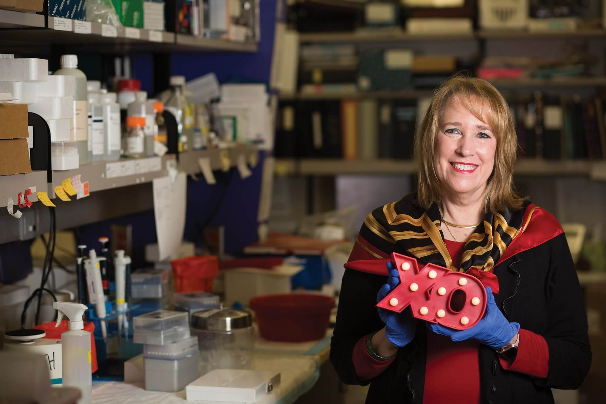 Dolores J. Lamb, Ph.D., poses in her laboratory at Baylor College of Medicine.