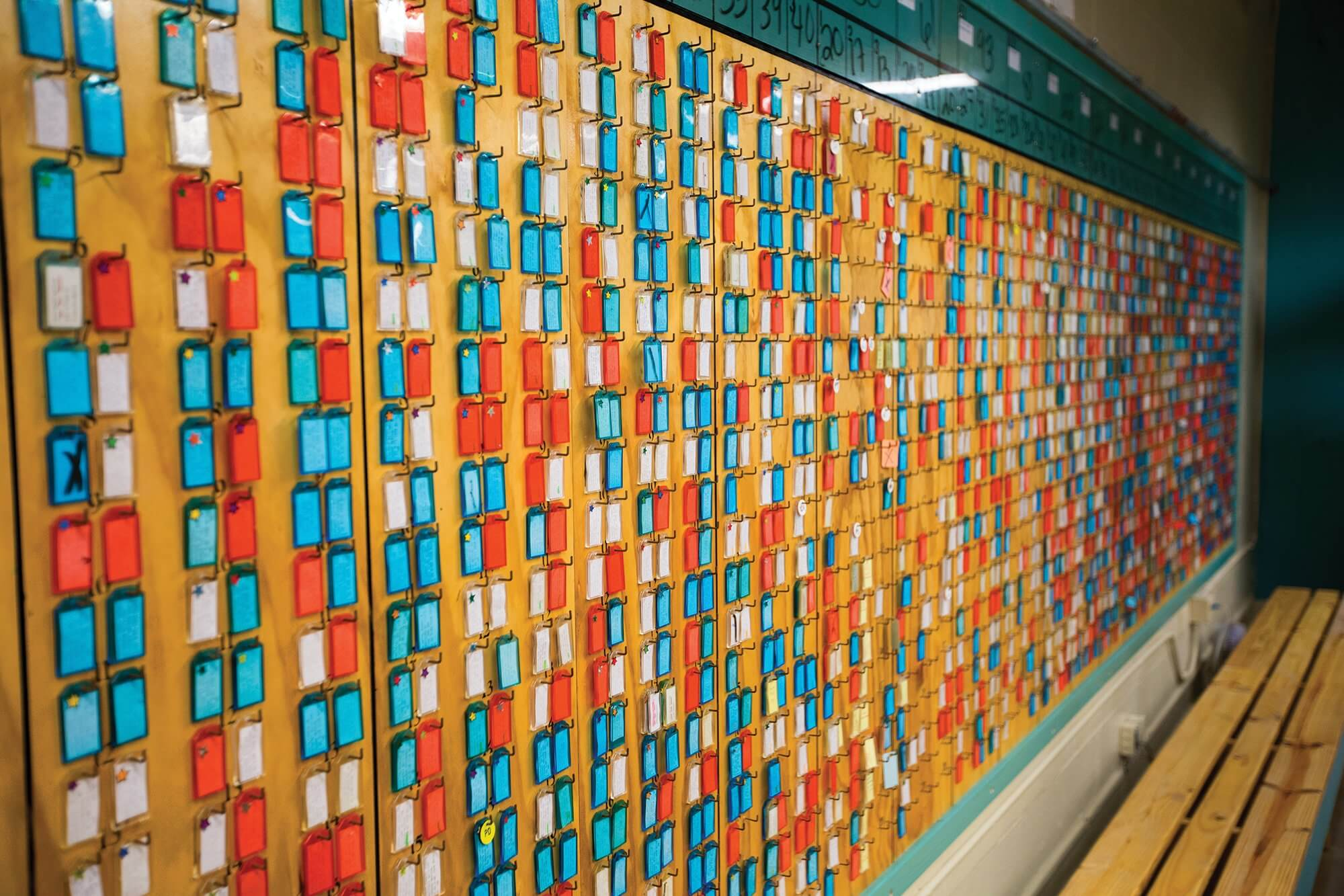 In the Count Room at the Estelle Unit, rows of colored tags serve as a visual census for every offender in the facility.
