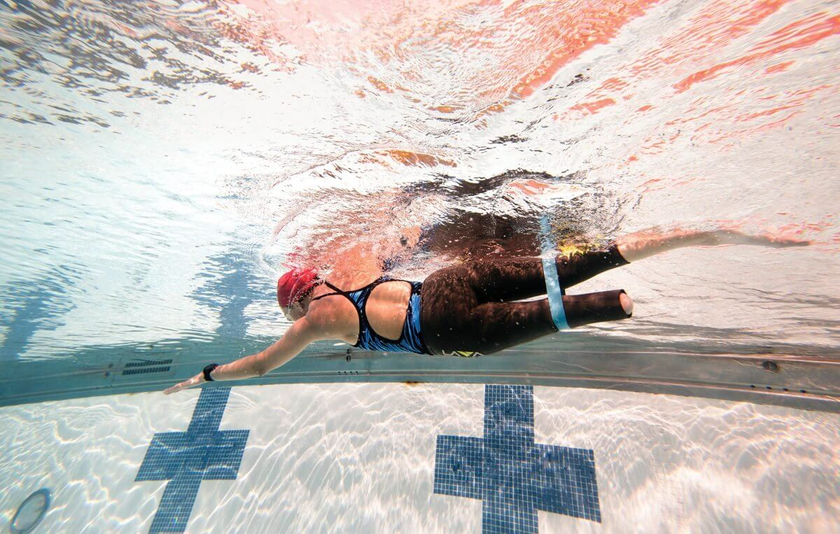 Adessa Ellis, swimming at her local pool (Credit: Cody Duty).