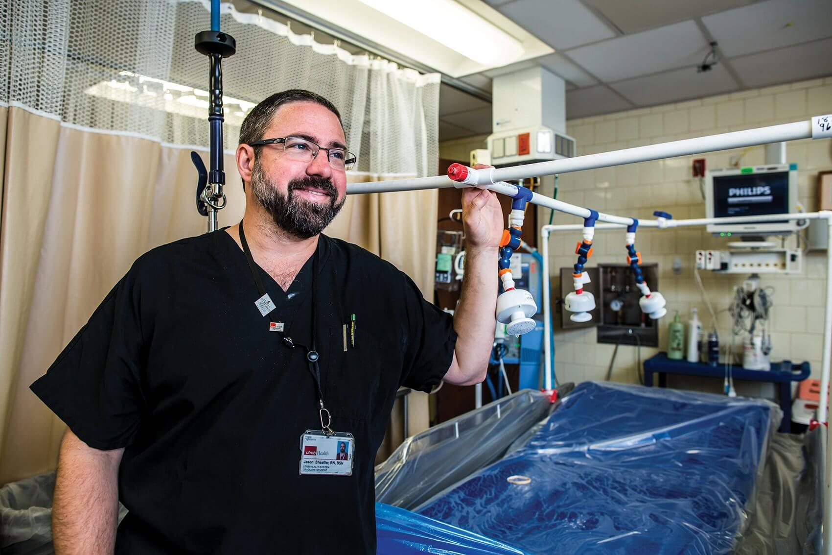 Jason Sheaffer, Blocker Burn Unit nurse at UTMB
