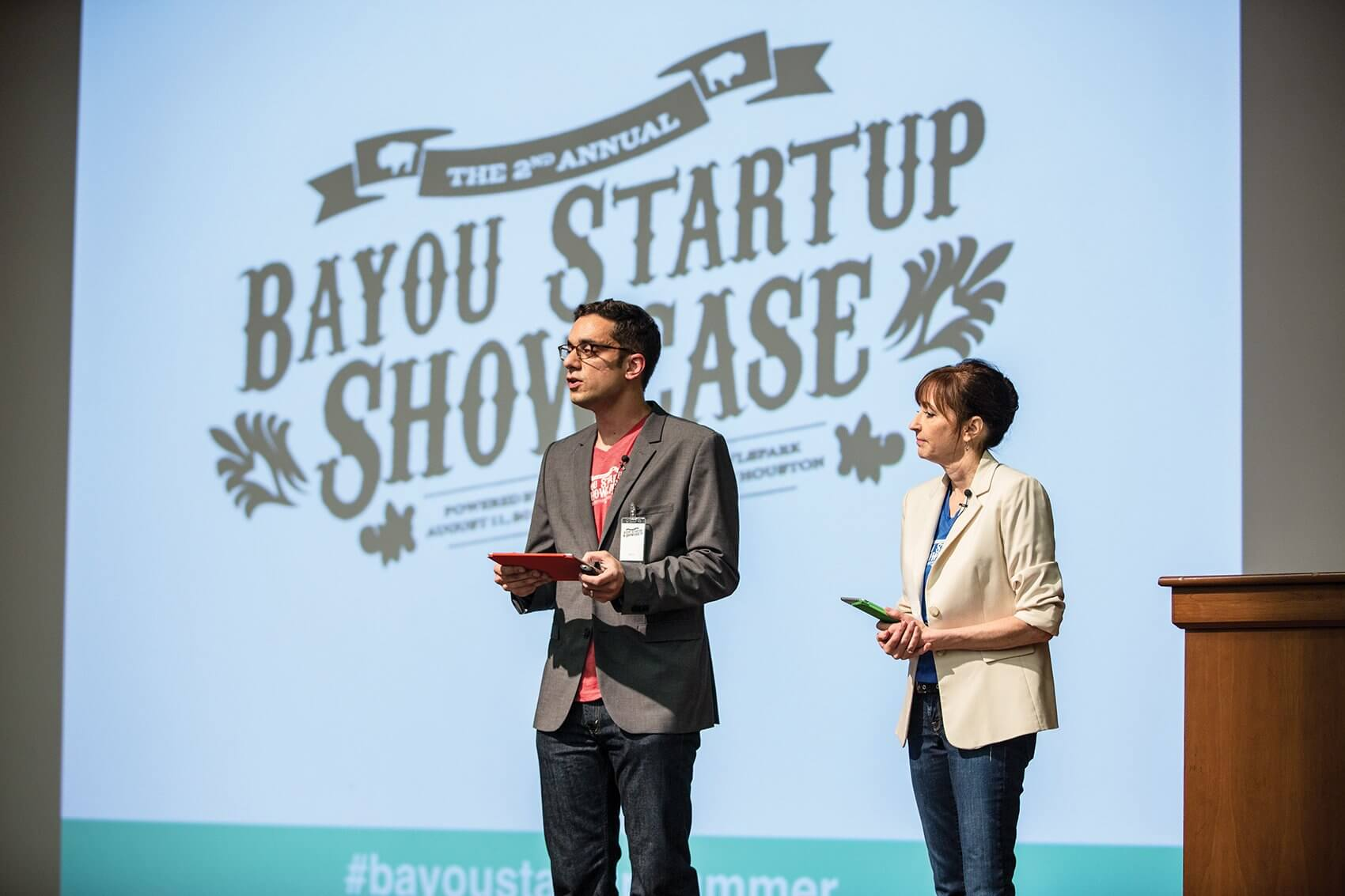 Hesam Panahi, Ph.D., and Kerri Smith, kick off the second annual Bayou Startup Showcase at the University of Houston.