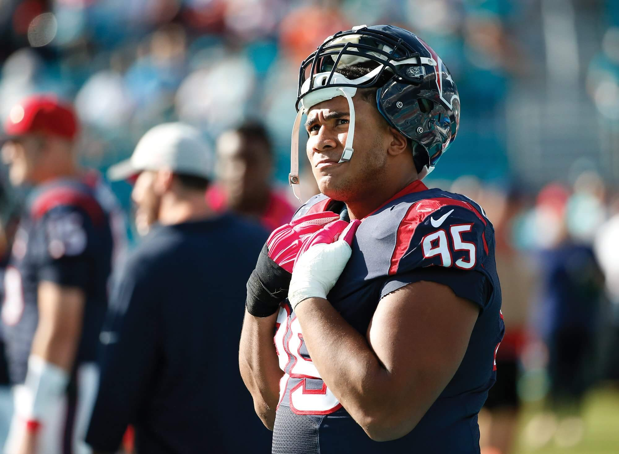 Christian Covington, a defensive end for the Houston Texans, got to know Paige Lejeune and her family. Credit: AP / Wilfredo Lee