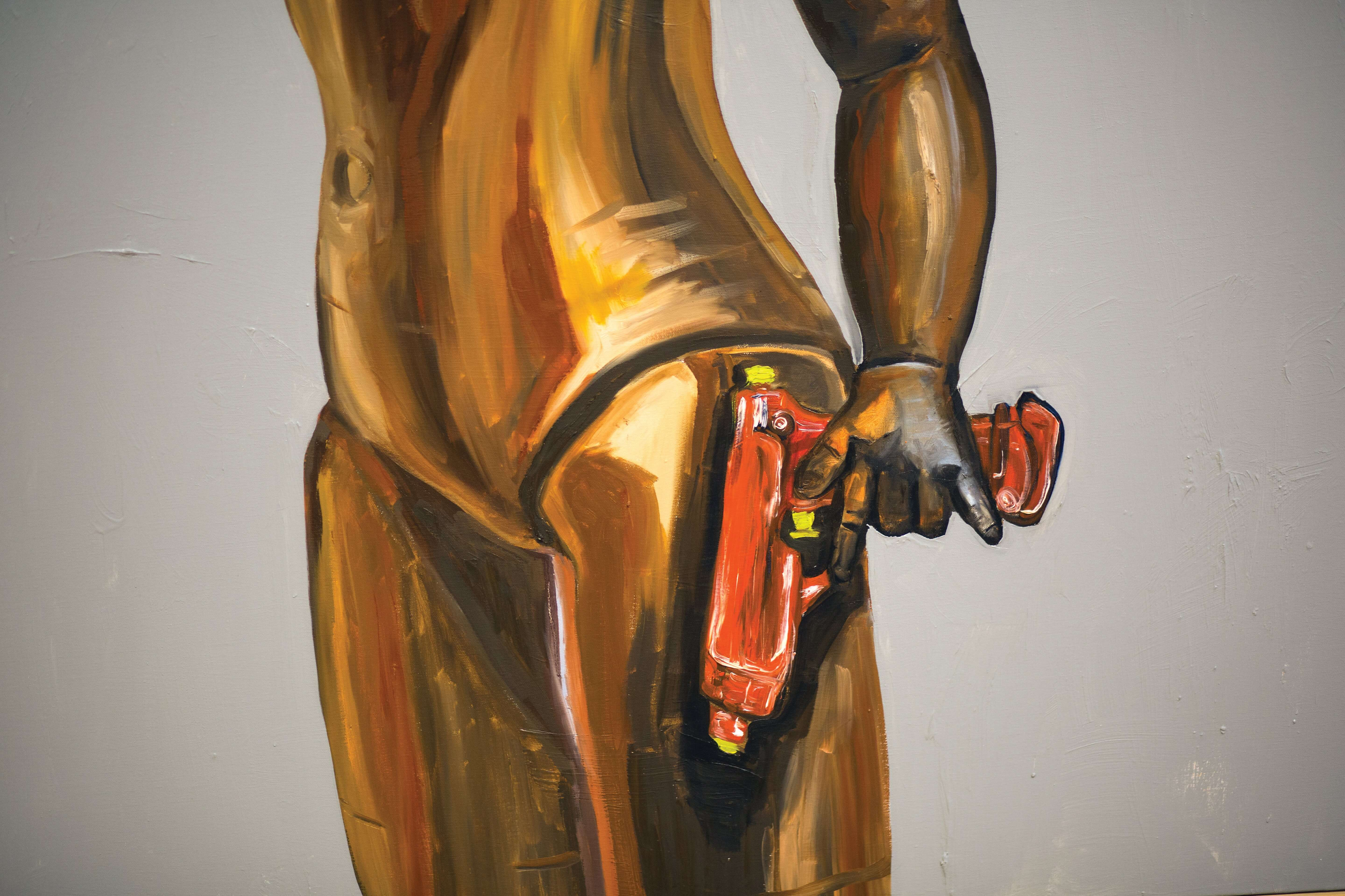 Paintings are among the mixed media works on display in 'Lady Part Follies,' at the Contemporary Arts Museum Houston.