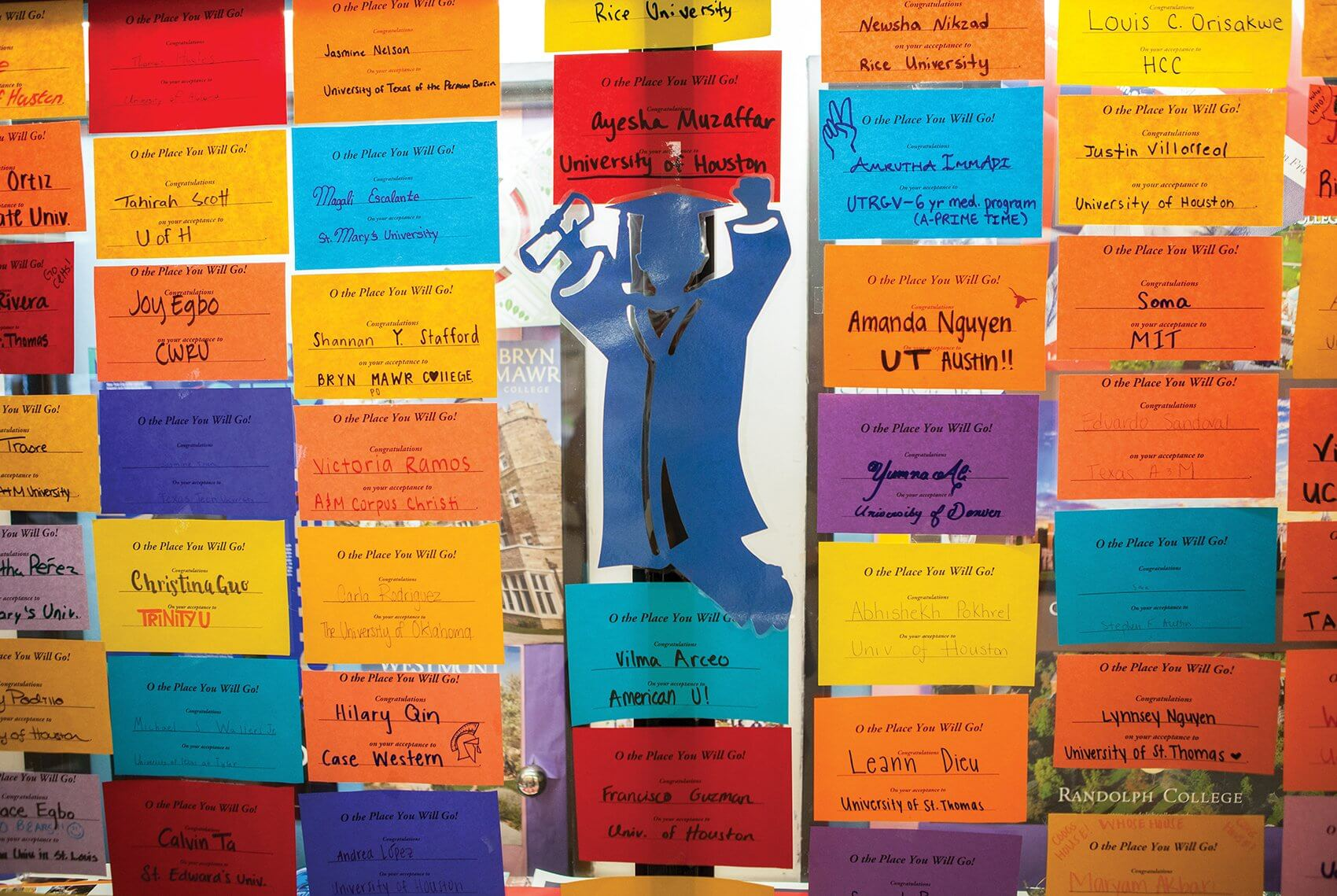 A colorful display shows where each senior will attend college in the fall.